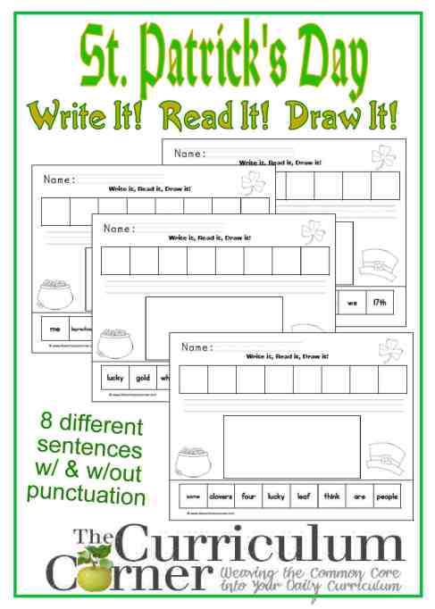 St. Patrick's Day themed Write It, Read it, Draw it Sentence Activity FREE from The Curriculum Corner