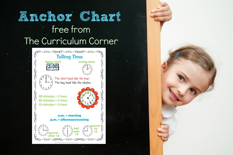 This free telling time anchor chart can be used as a poster or an insert for a math notebook. Created by The Curriculum Corner