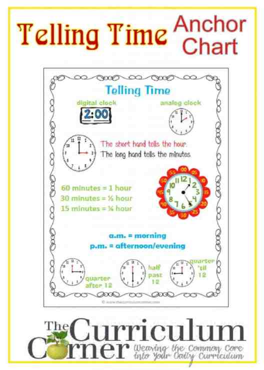 Telling Time Anchor Chart free from The Curriculum Corner | Math Notebook
