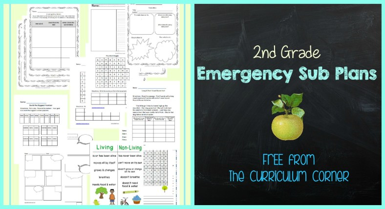 FREE 2nd Grade Emergency Sub Plans FREE from The Curriculum Corner | other grades available!