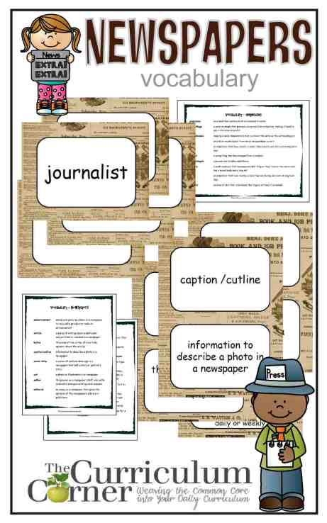 Newspaper Vocabulary Resources free from The Curriculum Corner