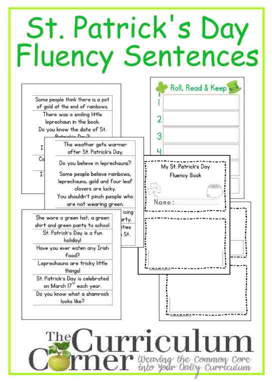 St. Patrick's Day Fluency Phrases free from The Curriculum Corner with booklet and Roll, Read & Keep board game