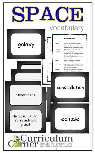 Space Vocabulary Resources from The Curriculum Corner FREE
