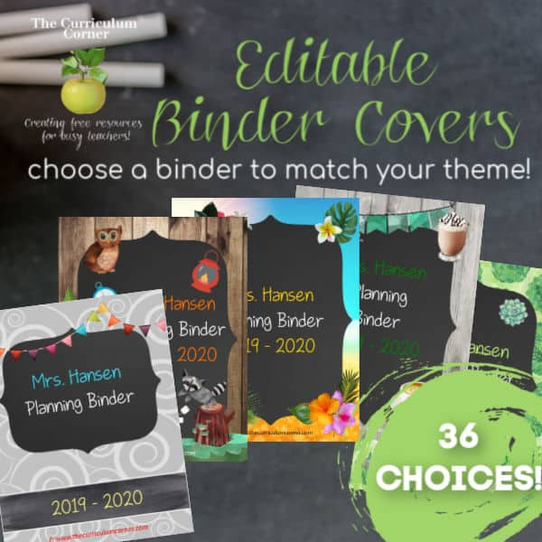 Editable Covers For Binders The Curriculum Corner 123