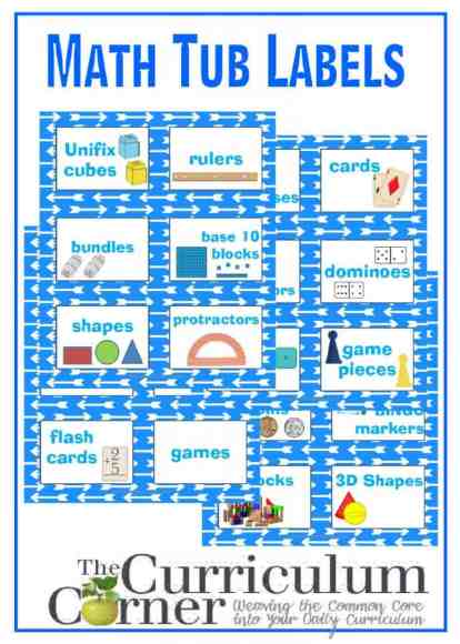 Math Tub Labels FREE from The Curriculum Corner