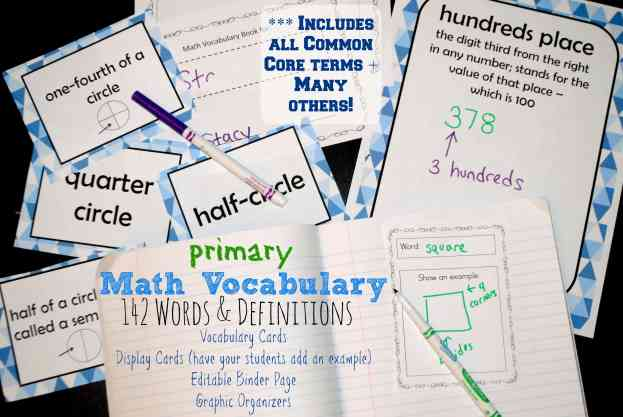 Math Vocabulary for Primary Grades - WOW! What a find - includes 142 vocab words, definitions, display cards, binder pages & graphic organizers! Covers all 1st, 2nd & 3rd grade math terms. FREE from The Curriculum Corner