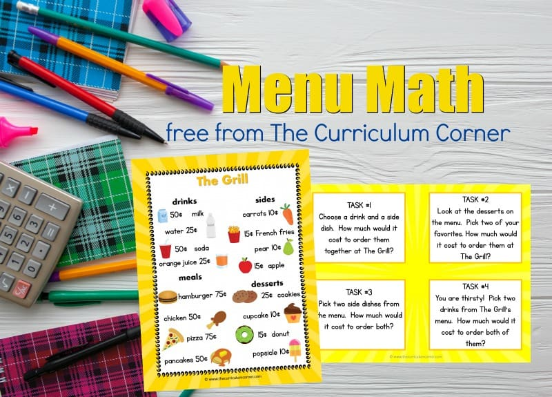 These free menu math activities are designed to give your students real world math problem solving practice.