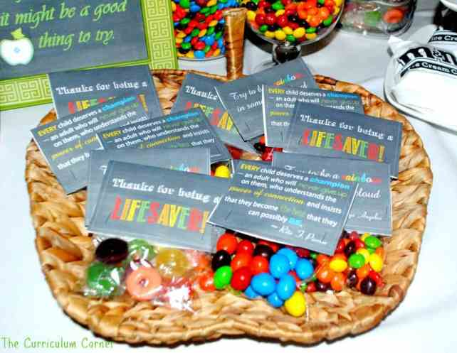 Treats for Teachers - subway art chalkboard printables, treat toppers & teacher's lounge snack ideas from The Curriculum Corner