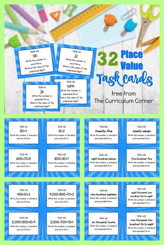 FREE Place Value Task Cards from The Curriculum Corner