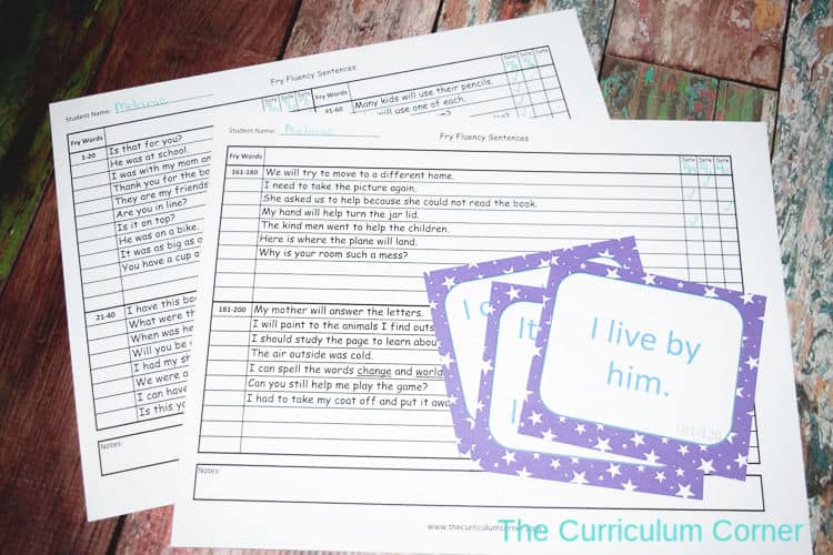 photograph regarding Fry Phrases Printable named Fry Fluency Sentence Components - The Curriculum Corner 123