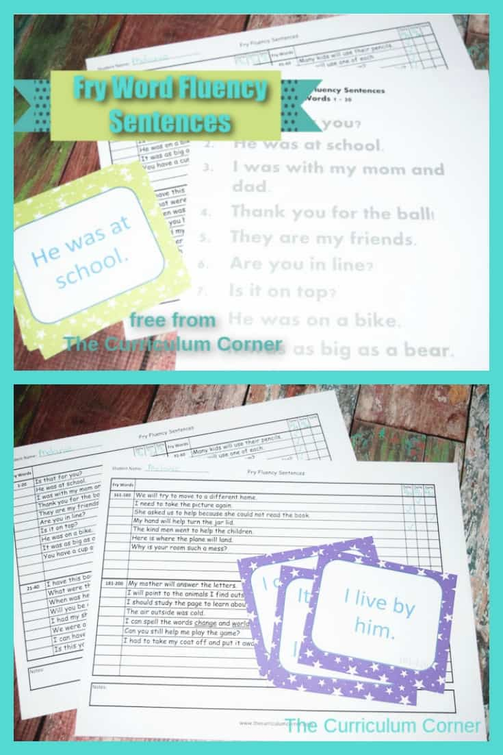 photograph relating to Fry Phrases Printable identified as Fry Fluency Sentence Products - The Curriculum Corner 123