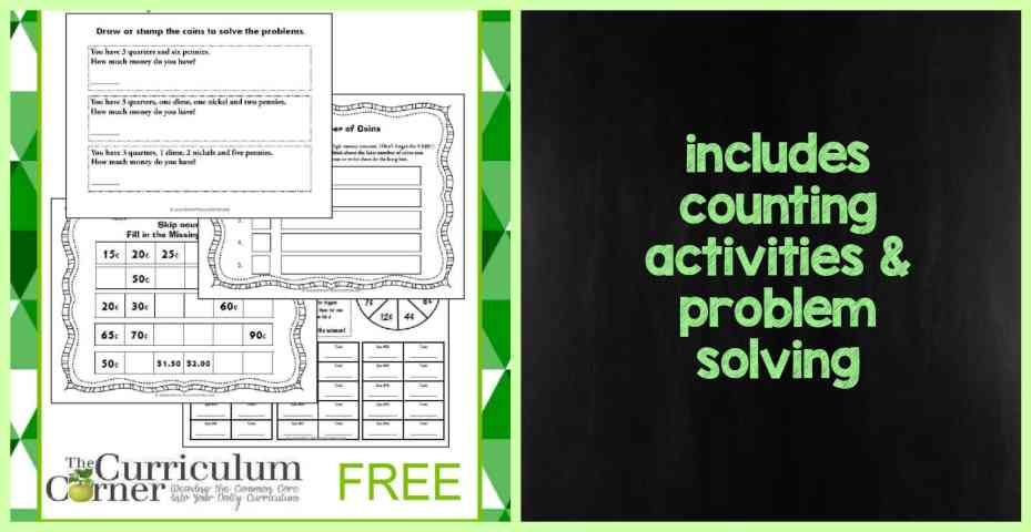 Counting Money Practice Booklet FREE from The Curriculum Corner FREEBIE
