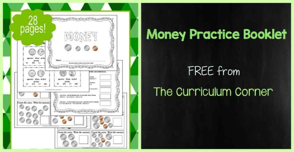 Counting Money Practice Booklet FREE from The Curriculum Corner