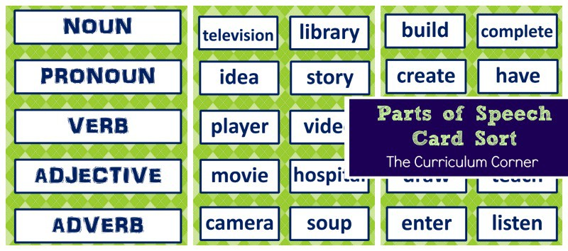 Parts of Speech Card Sort free from The Curriculum Corner