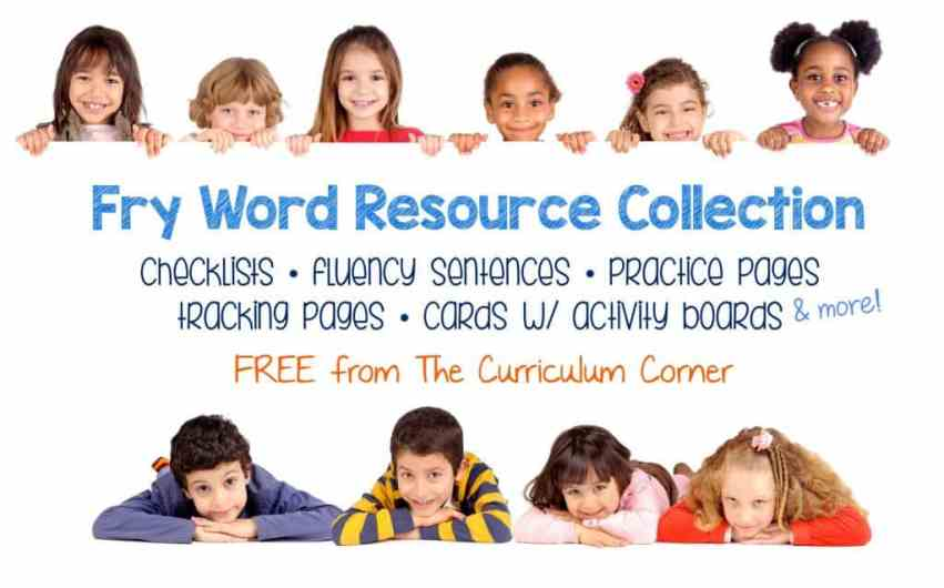 Free HUGE Fry Sight Words Resource Collection from The Curriculum Corner