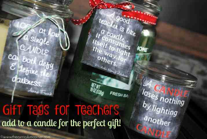 Cute printable tags for a candle gift for teachers - FREE from The Curriculum Corner