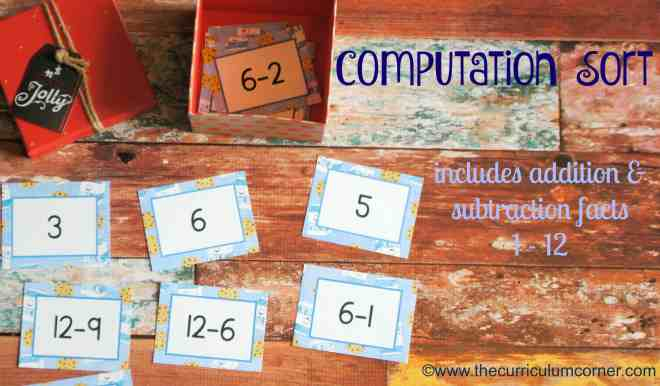 Addition & Subtraction Computation Sort | Milk & Cookies Math Game FREE from The Curriculum Corner