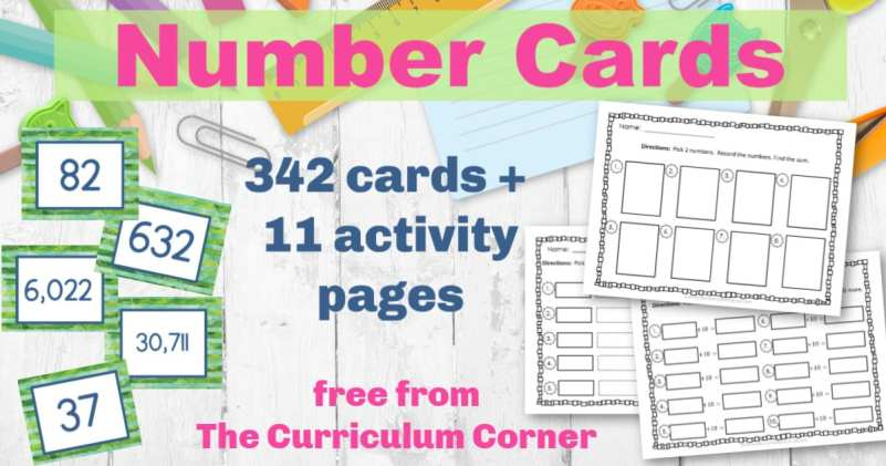 Printable Number Cards from The Curriculum Corner