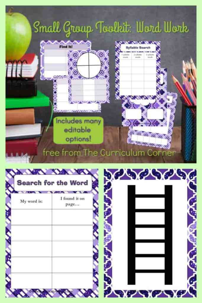 small group toolkit focus on word work