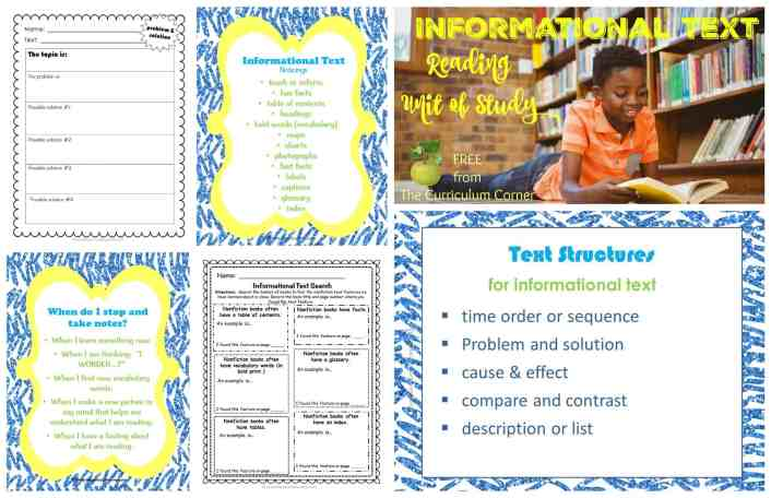 Informational Text Reading Unit of Study FREE from The Curriculum Corner | Nonfiction | Mini Lessons | Anchor Charts | Graphic Organizers