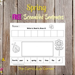 FREE Spring Write, Read, Draw Scrambled Sentences Literacy Center from The Curriculum Corner