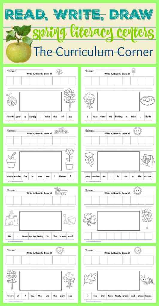 FREE Spring Write, Read, Draw Scrambled Sentences Literacy Center from The Curriculum Corner 2