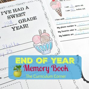 End of the Year Memory Book FREE from The Curriculum Corner | ice cream themed