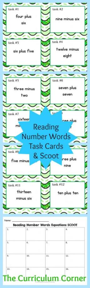 Reading Number Word Equations Task Cards & Scoot Game | Addition & Subtraction Facts | Reading Number Words | FREE | The Curriculum Corner