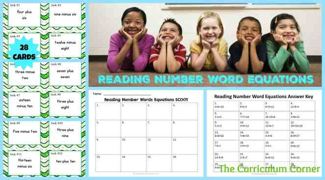 Number Word Equations Task Cards & Scoot Game | Addition & Subtraction Facts | Reading Number Words | FREE | The Curriculum Corner