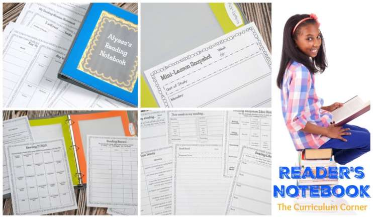 Reading Notebook | Reader's Notebook | Free from The Curriculum Corner | reading response | goal setting | editable binder covers | mini-lesson summary