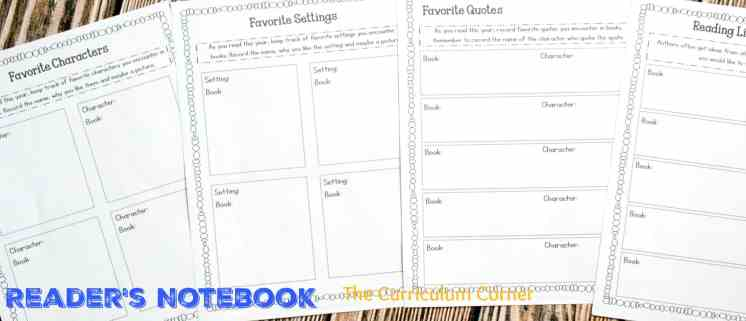 Reader's Notebook | Free from The Curriculum Corner | Favorites | reading response | goal setting | editable binder covers | mini-lesson summary