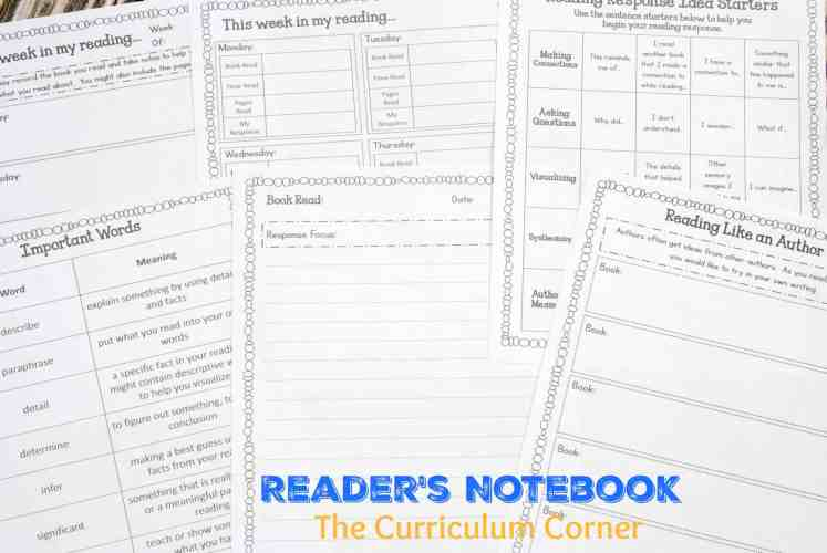 Reading Notebook | Free from The Curriculum Corner | responding to reading | goal setting | editable binder covers | mini-lesson summary