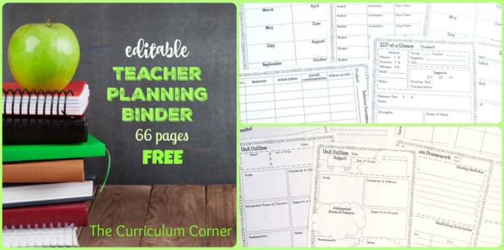 FREEBIE! Editable teacher planning binder - 66 pages! Free from The Curriculum Corner