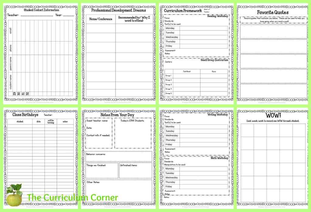 FREE Teacher Planning Binder from The Curriculum Corner - editable!