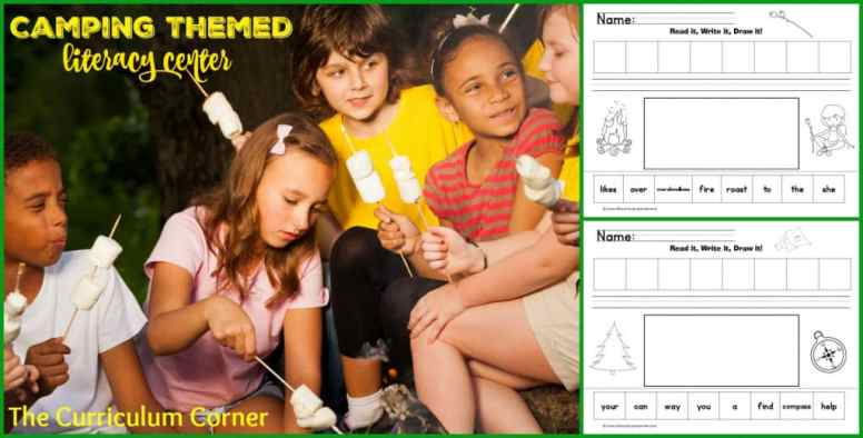This camping literacy center is designed to provide literacy skill practice during your classroom camping unit.