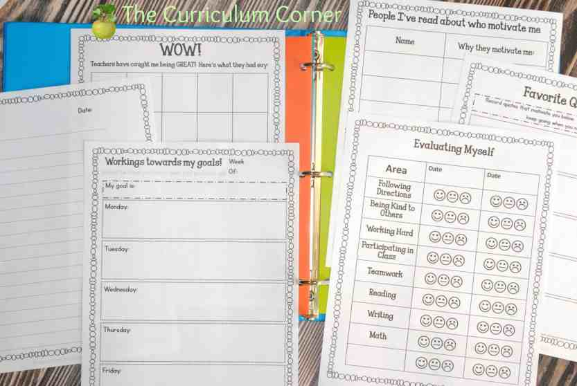 FREE Editable Student Data Binder from The Curriculum Corner with Reflection Pages