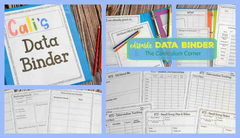 FREE Editable Student Data Binder from The Curriculum Corner includes 60 Pages