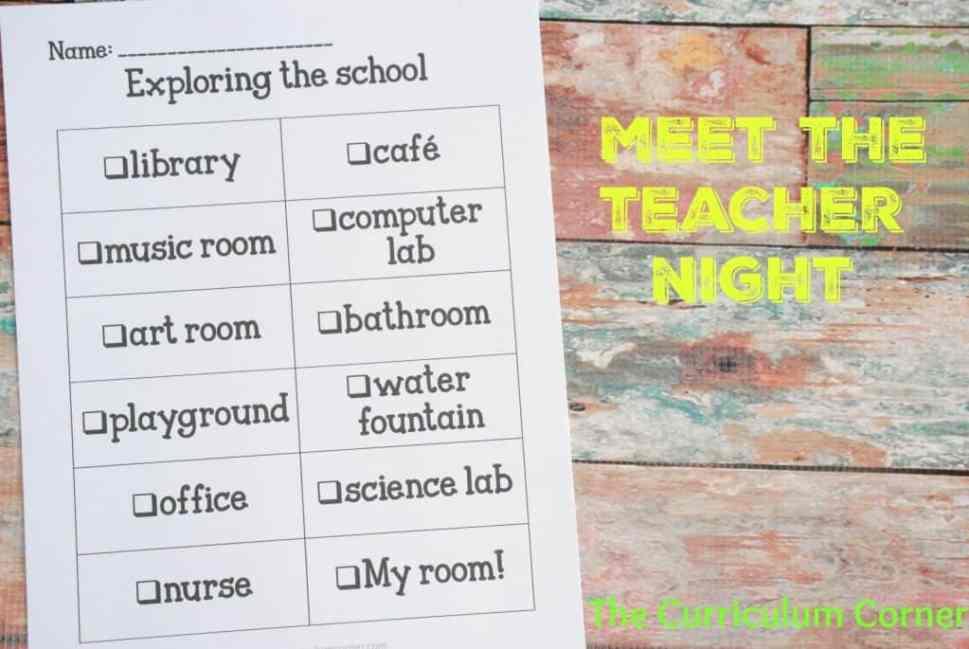 School Scavenger Hunt for Meet the Teacher Night FREEBIE   The Curriculum Corner