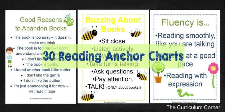 FREEBIE! 30 Printable Anchor Charts for your Reading Workshop FREE from The Curriculum Corner