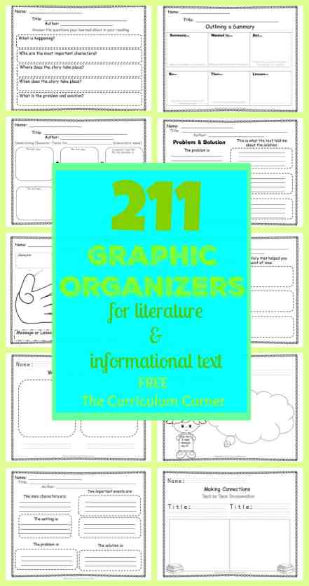 HUGE FREEBIE!!!! 211 FREE Graphic Organizers for Literature & Informational Text from The Curriculum Corner