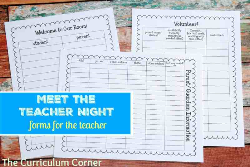 Forms for the Teacher - Meet the Teacher NIght The Curriculum Corner FREE