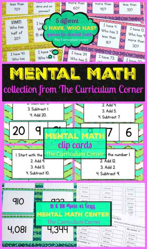 FREEBIE!!!! Huge mental math collection of free printables - 5 I have, who has games, clip cards, math center & more!