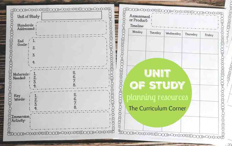 Unit of Study Planning Forms part of Editable Reading Management Binder FREE from The Curriculum Corner