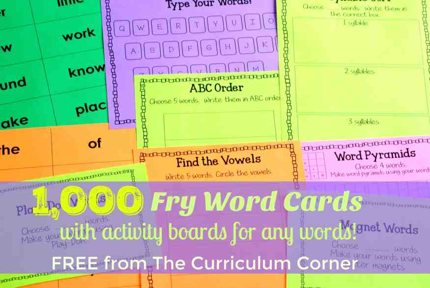 These Fry Word cards are accompanied by a collection of Fry Word Activities that will fit well into your word work time!
