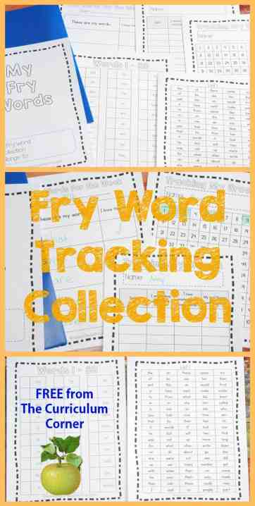 Make student Fry Tracking Folders! FREE from The Curriculum Corner