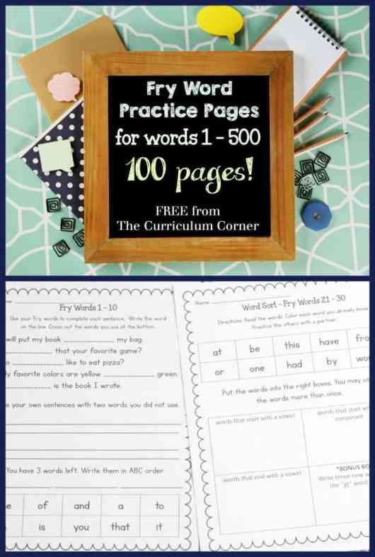 FREEBIE!!! Fry Words Practice Pages
