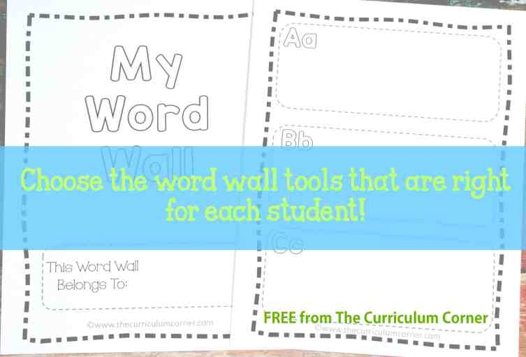 HUGE FREEBIE! Portable Word Wall Tools for Students | word families | vocabulary map | much more! | The Curriculum Corner