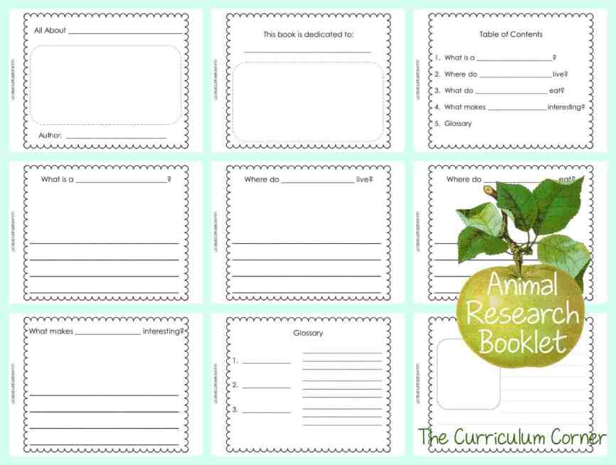 FREE Animal Research Writing Unit of Study from The Curriculum Corner | Blank Books for Writing