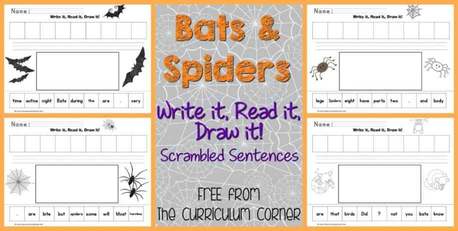 FREE Bats & Spiders Scrambled Sentences | The Curriculum Corner | LIteracy Centers | Informational Text | FREEBIE