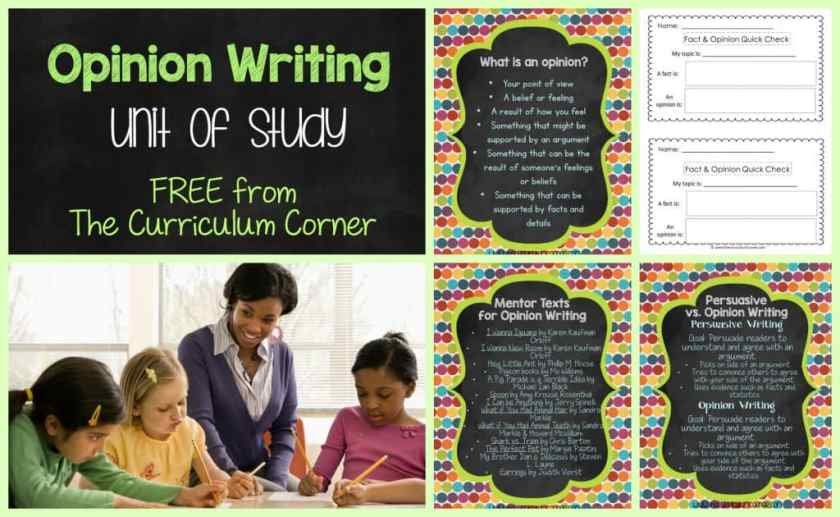 FREE Opinion Writing Unit of Study from The Curriculum Corner